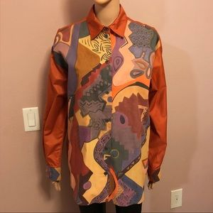 One of a kind Hand painted button down shirt